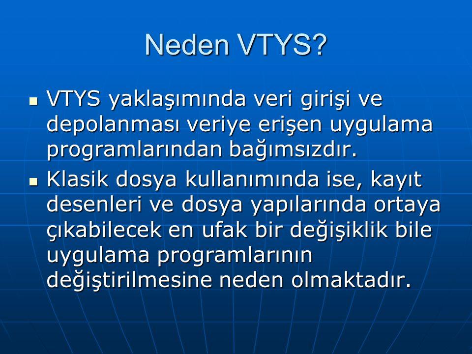 Neden VTYS? VTYS yaklaşımında veri girişi ve depolanması veriye erişen uygulama programlarından bağımsızdır. VTYS yaklaşımında veri girişi ve depolanm