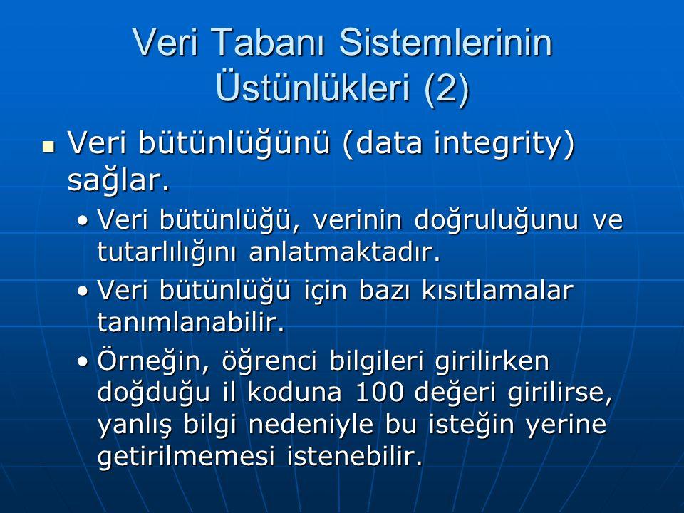Veri Tabanı Sistemlerinin Üstünlükleri (2) Veri bütünlüğünü (data integrity) sağlar.