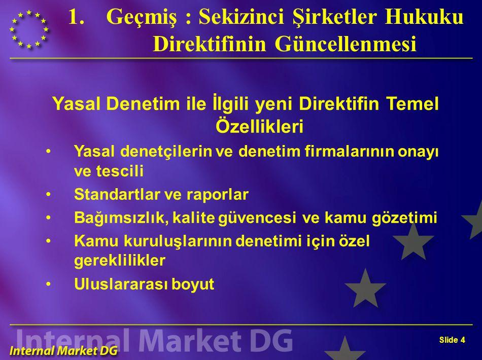 Slide 3 1.Geçmiş : Sekizinci Şirketler Hukuku Direktifinin Güncellenmesi 84253EEC numaralı ve 10 Nisan 1984 tarihli Sekizinci Konsey Direktifinin yerine geçecek yeni Direktif Kapsamlı ve ilkelere dayalı bir Direktif Zamanlama: – Komisyon önerisi – Mart 2004 – Konsey'in genel yaklaşımı - 7 Aralık 2004 – Siyasi uzlaşma – Sonbahar 2005 .