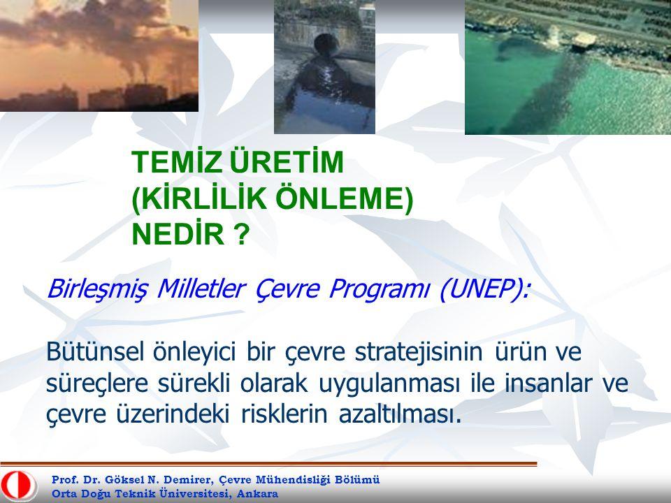 Prof. Dr. Göksel N. Demirer, Çevre Mühendisliği Bölümü Orta Doğu Teknik Üniversitesi, Ankara TEMİZ ÜRETİM (KİRLİLİK ÖNLEME) NEDİR ? Birleşmiş Milletle