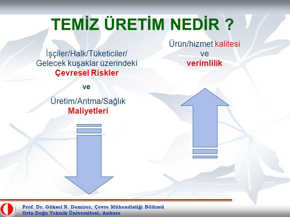 Prof. Dr. Göksel N. Demirer, Çevre Mühendisliği Bölümü Orta Doğu Teknik Üniversitesi, Ankara TEMİZ ÜRETİM NEDİR ? Ürün/hizmet kalitesi ve verimlilik İ