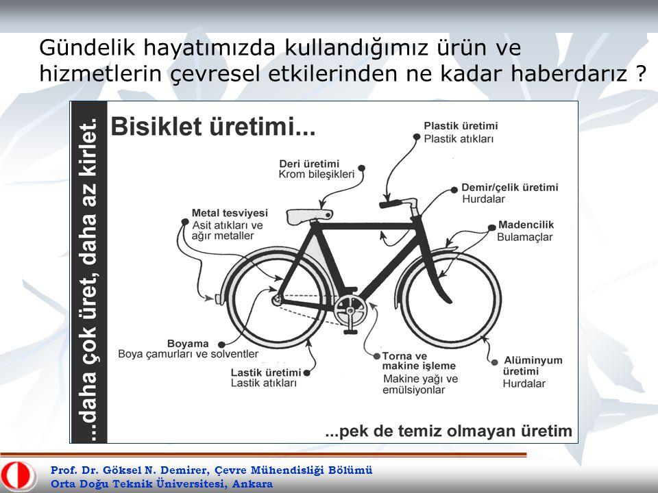 Prof. Dr. Göksel N. Demirer, Çevre Mühendisliği Bölümü Orta Doğu Teknik Üniversitesi, Ankara Gündelik hayatımızda kullandığımız ürün ve hizmetlerin çe