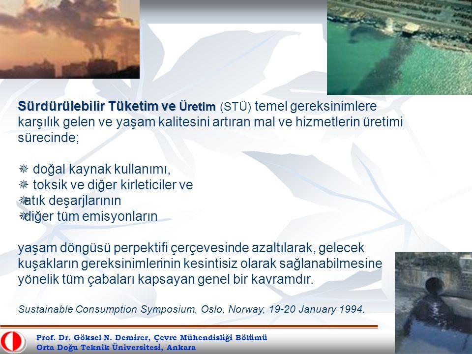 Prof. Dr. Göksel N. Demirer, Çevre Mühendisliği Bölümü Orta Doğu Teknik Üniversitesi, Ankara Sürdürülebilir Tüketim ve Üretim Sürdürülebilir Tüketim v