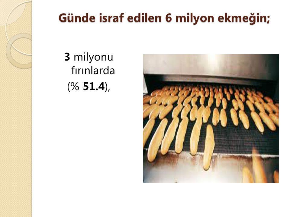 Günde israf edilen 6 milyon ekmeğin; 3 milyonu fırınlarda (% 51.4),