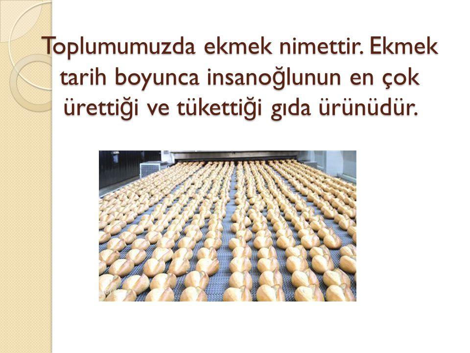 Toplumumuzda ekmek nimettir. Ekmek tarih boyunca insano ğ lunun en çok üretti ğ i ve tüketti ğ i gıda ürünüdür.