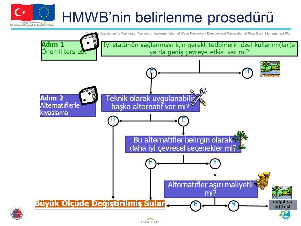 HMWB'nin belirlenme prosedürü İyi statünün sağlanması için gerekli tedbirlerin özel kullanım(lar)a ya da geniş çevreye etkisi var mı? Adım 1 Önemli te