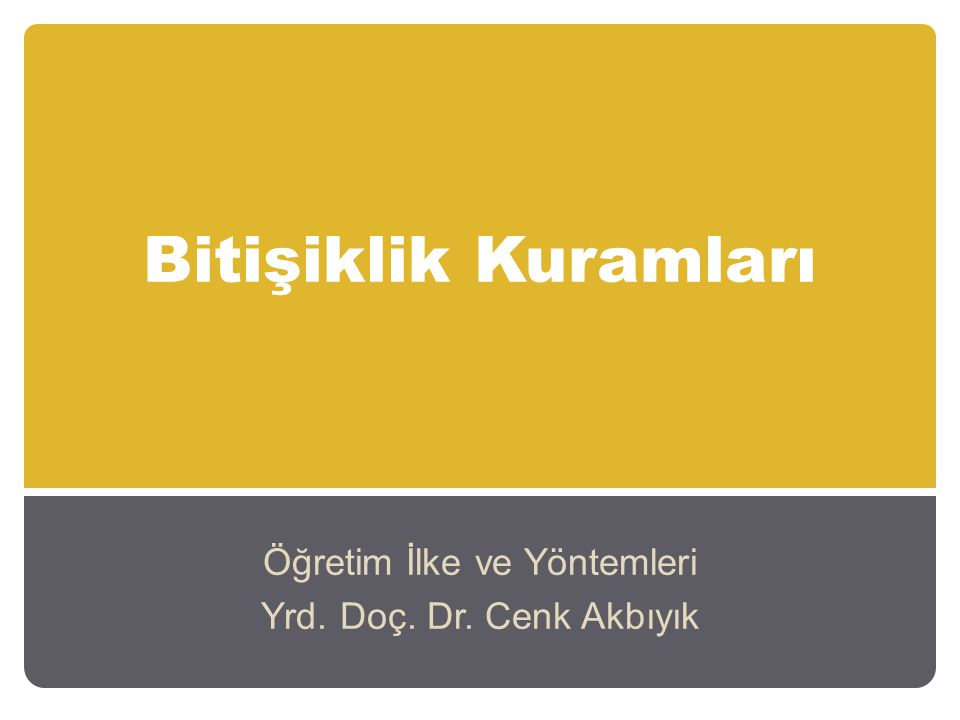 Bitişiklik Kuramları Öğretim İlke ve Yöntemleri Yrd. Doç. Dr. Cenk Akbıyık