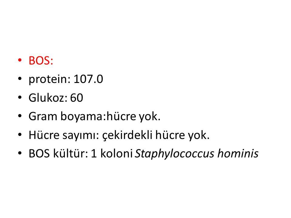 BOS: protein: 107.0 Glukoz: 60 Gram boyama:hücre yok. Hücre sayımı: çekirdekli hücre yok. BOS kültür: 1 koloni Staphylococcus hominis