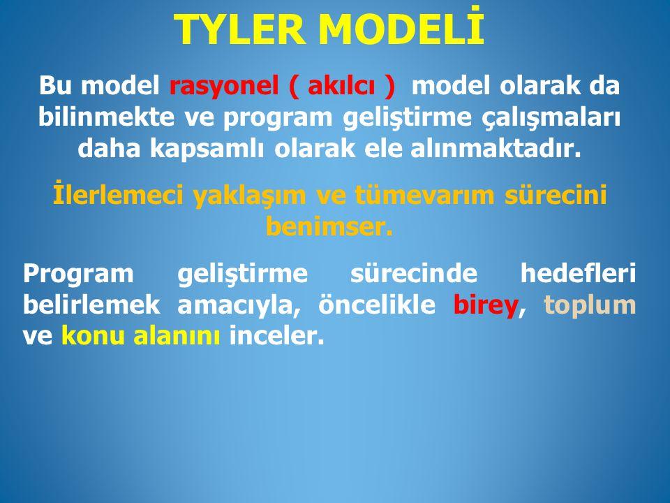 TYLER MODELİ Bu model rasyonel ( akılcı ) model olarak da bilinmekte ve program geliştirme çalışmaları daha kapsamlı olarak ele alınmaktadır. İlerleme