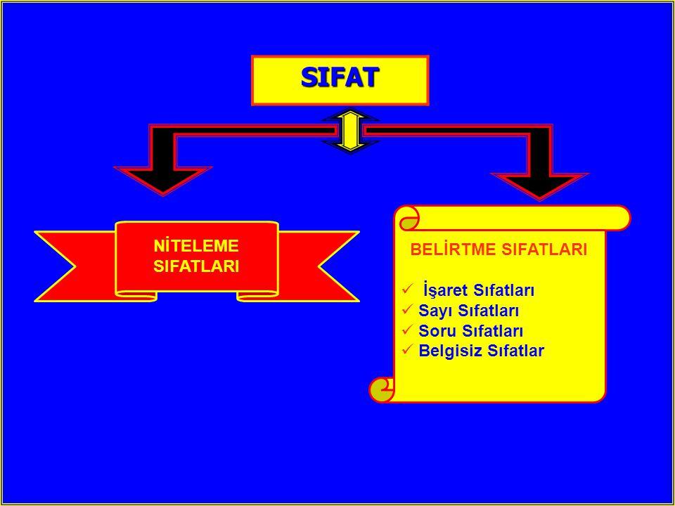 N iteleme S ıfatları  Niteleme Sıfatları Varlıkları RENK – B İ Ç İ M – DURUM bakımından Varlıkları RENK – B İ Ç İ M – DURUM bakımından niteleyen sıfatlardır.