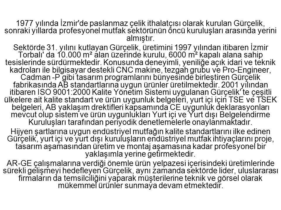 1977 yılında İzmir'de paslanmaz çelik ithalatçısı olarak kurulan Gürçelik, sonraki yıllarda profesyonel mutfak sektörünün öncü kuruluşları arasında ye