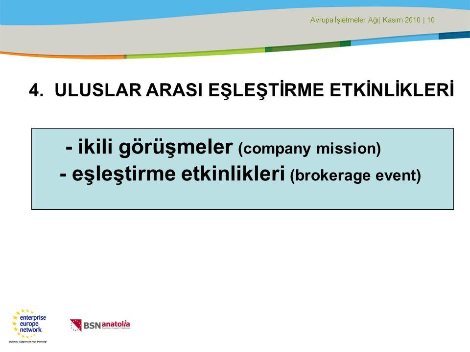 Avrupa İşletmeler Ağı| Kasım 2010 | 10 4.