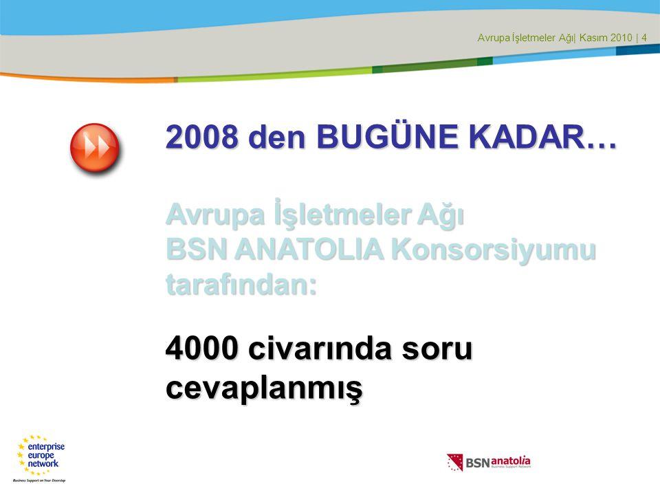 Avrupa İşletmeler Ağı| Kasım 2010 | 4 2008 den BUGÜNE KADAR… Avrupa İşletmeler Ağı BSN ANATOLIA Konsorsiyumu tarafından: 4000 civarında soru cevaplanmış