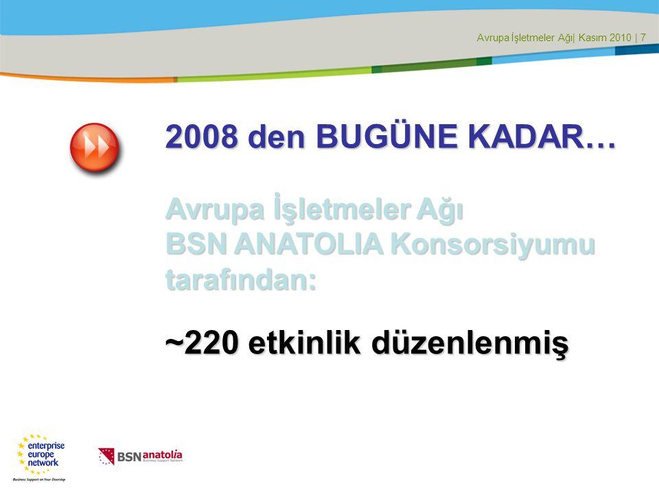 Avrupa İşletmeler Ağı| Kasım 2010 | 7 2008 den BUGÜNE KADAR… Avrupa İşletmeler Ağı BSN ANATOLIA Konsorsiyumu tarafından: ~220 etkinlik düzenlenmiş
