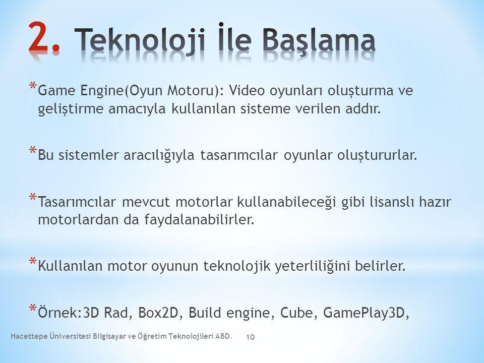 * Game Engine(Oyun Motoru): Video oyunları oluşturma ve geliştirme amacıyla kullanılan sisteme verilen addır. * Bu sistemler aracılığıyla tasarımcılar
