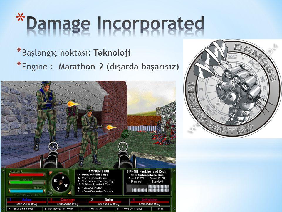 * Başlangıç noktası: Teknoloji * Engine : Marathon 2 (dışarda başarısız) 21