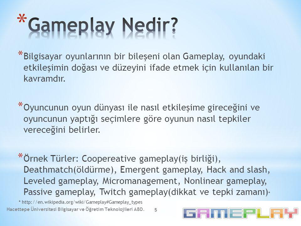 * Bilgisayar oyunlarının bir bileşeni olan Gameplay, oyundaki etkileşimin doğası ve düzeyini ifade etmek için kullanılan bir kavramdır. * Oyuncunun oy