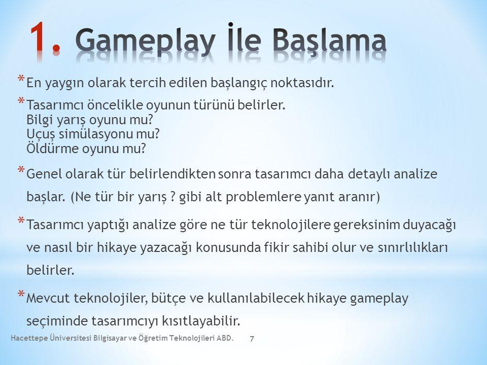 * Tasarımcı seçtiği gameplay'e göre oyunun gereksinim duyacağı teknolojileri belirler: 3D/2D Sabit/ Dinamik Büyük oyun dünyası/ Küçük oyun dünyası PC, XBOX, Tablet, Consol Cihaz * Tasarımcı mevcut teknolojilerden yararlanılıp yararlanılmayacağı, tasarıma sıfırdan mı başlanacağı, bütçe ve zamanın yeni teknoloji için yeterli olup olmayacağını kontrol eder.