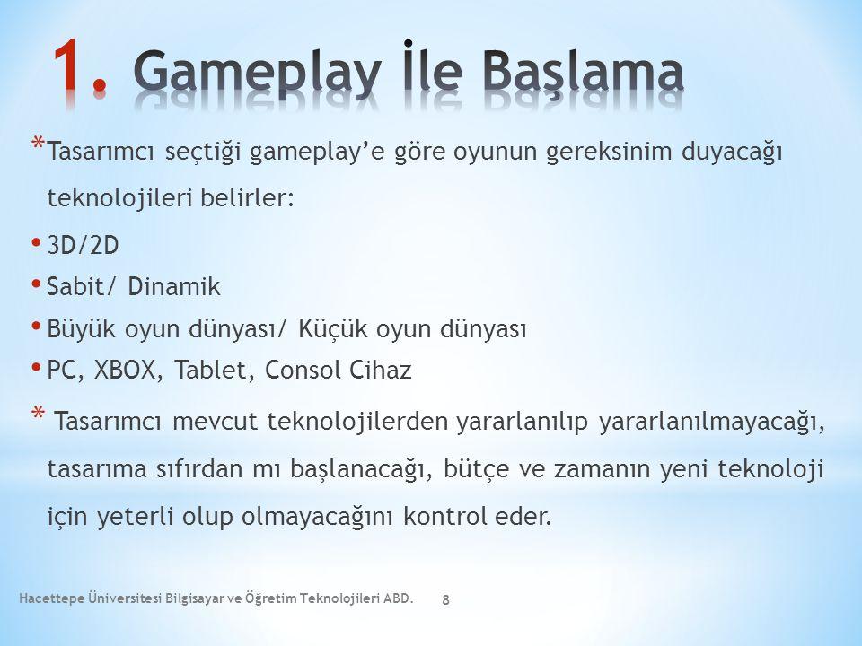 * Tasarımcı seçtiği gameplay'e göre oyunun gereksinim duyacağı teknolojileri belirler: 3D/2D Sabit/ Dinamik Büyük oyun dünyası/ Küçük oyun dünyası PC,