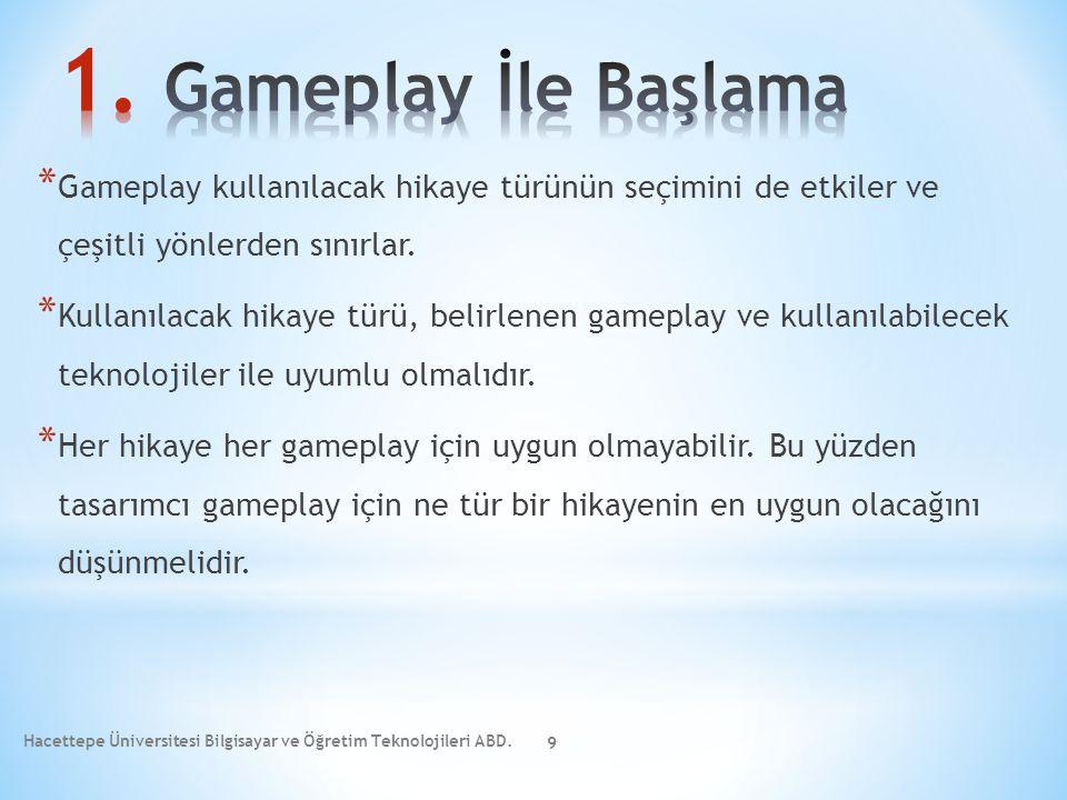 * Gameplay kullanılacak hikaye türünün seçimini de etkiler ve çeşitli yönlerden sınırlar. * Kullanılacak hikaye türü, belirlenen gameplay ve kullanıla