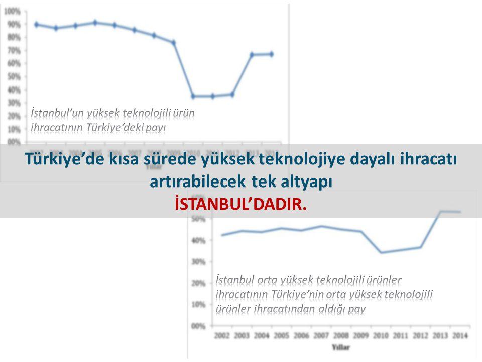Türkiye'de kısa sürede yüksek teknolojiye dayalı ihracatı artırabilecek tek altyapı İSTANBUL'DADIR.