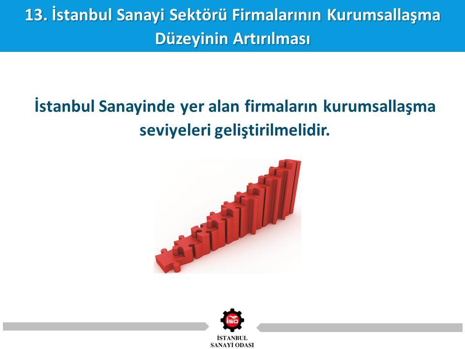 13. İstanbul Sanayi Sektörü Firmalarının Kurumsallaşma Düzeyinin Artırılması İstanbul Sanayinde yer alan firmaların kurumsallaşma seviyeleri geliştiri