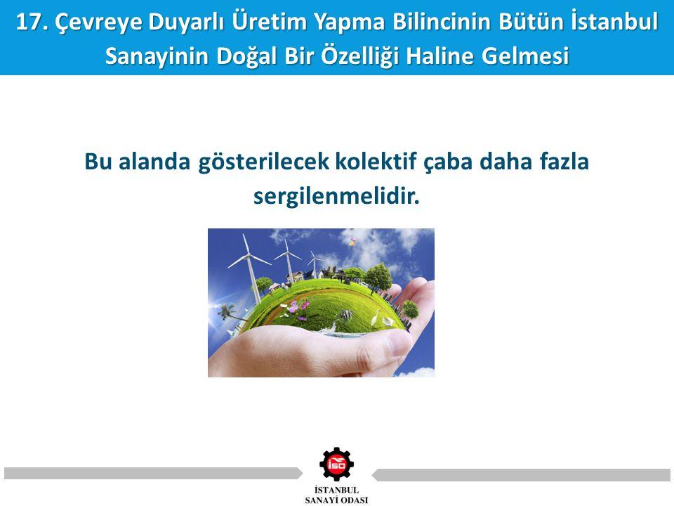17. Çevreye Duyarlı Üretim Yapma Bilincinin Bütün İstanbul Sanayinin Doğal Bir Özelliği Haline Gelmesi Bu alanda gösterilecek kolektif çaba daha fazla