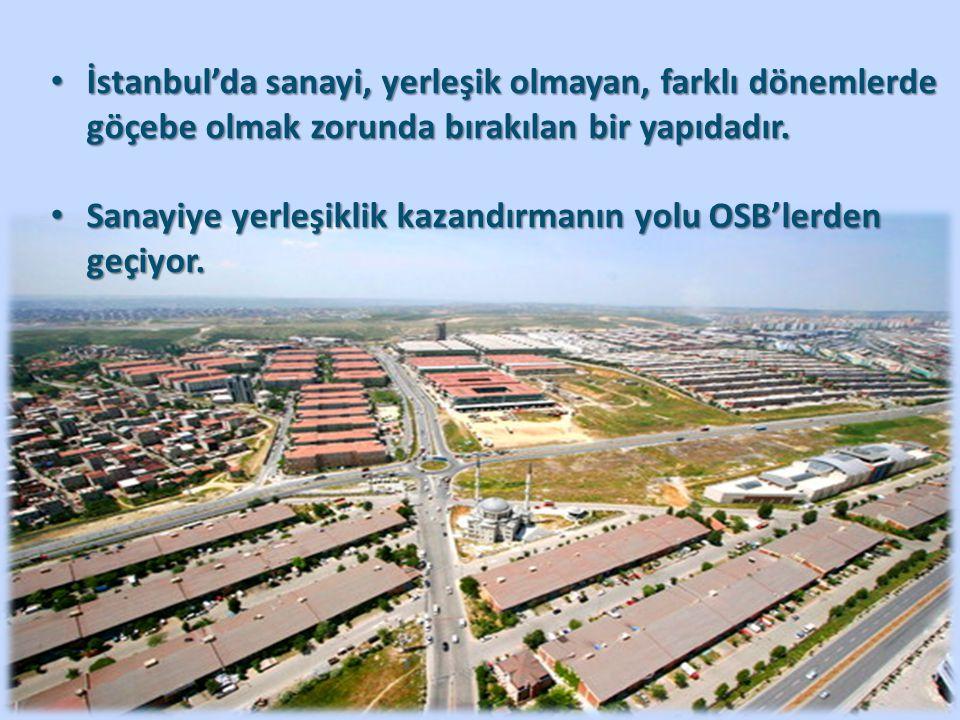 İstanbul'da sanayi, yerleşik olmayan, farklı dönemlerde göçebe olmak zorunda bırakılan bir yapıdadır.