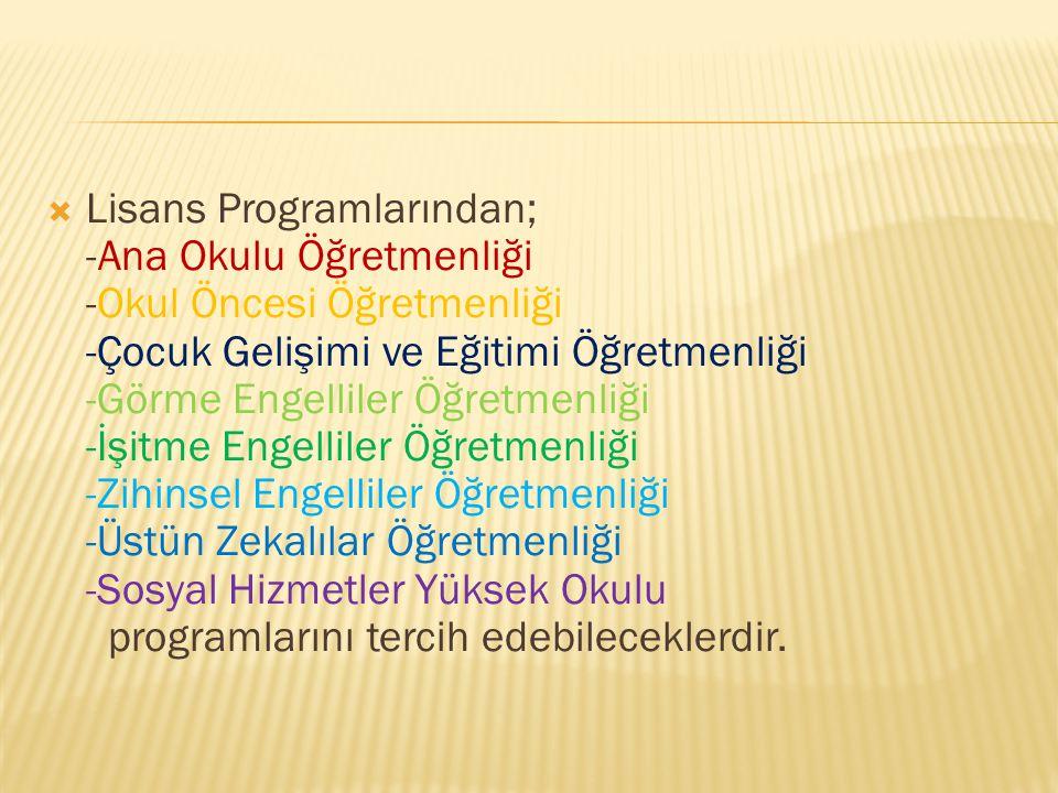  Lisans Programlarından; -Ana Okulu Öğretmenliği -Okul Öncesi Öğretmenliği -Çocuk Gelişimi ve Eğitimi Öğretmenliği -Görme Engelliler Öğretmenliği -İş