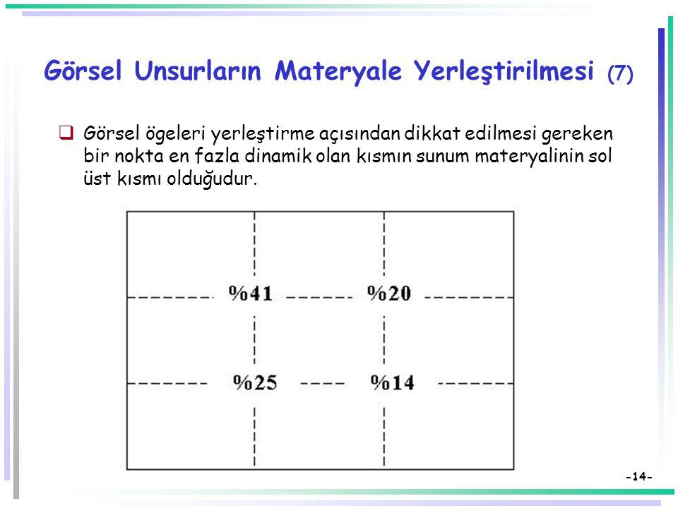 -13- Görsel Unsurların Materyale Yerleştirilmesi (6a)  Görsel unsurlarda oransızlıktan kaçınılmalı, esnek bir denge sağlanmaya çalışılmalıdır.