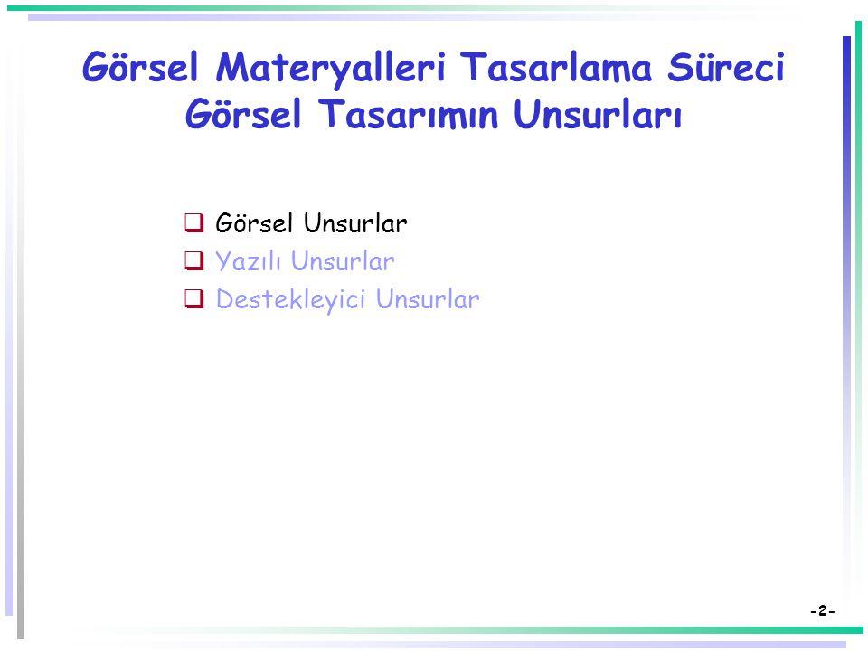 Öğretim Teknolojileri ve Materyal Tasarımı Görsel Materyalleri Tasarlama Süreci Görsel Tasarımın Unsurları: Görsel Unsurlar Dr. Süleyman Sadi SEFEROĞL