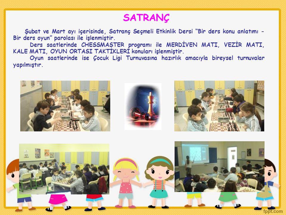 """Şubat ve Mart ayı içerisinde, Satranç Seçmeli Etkinlik Dersi """"Bir ders konu anlatımı - Bir ders oyun"""" parolası ile işlenmiştir. Ders saatlerinde CHESS"""