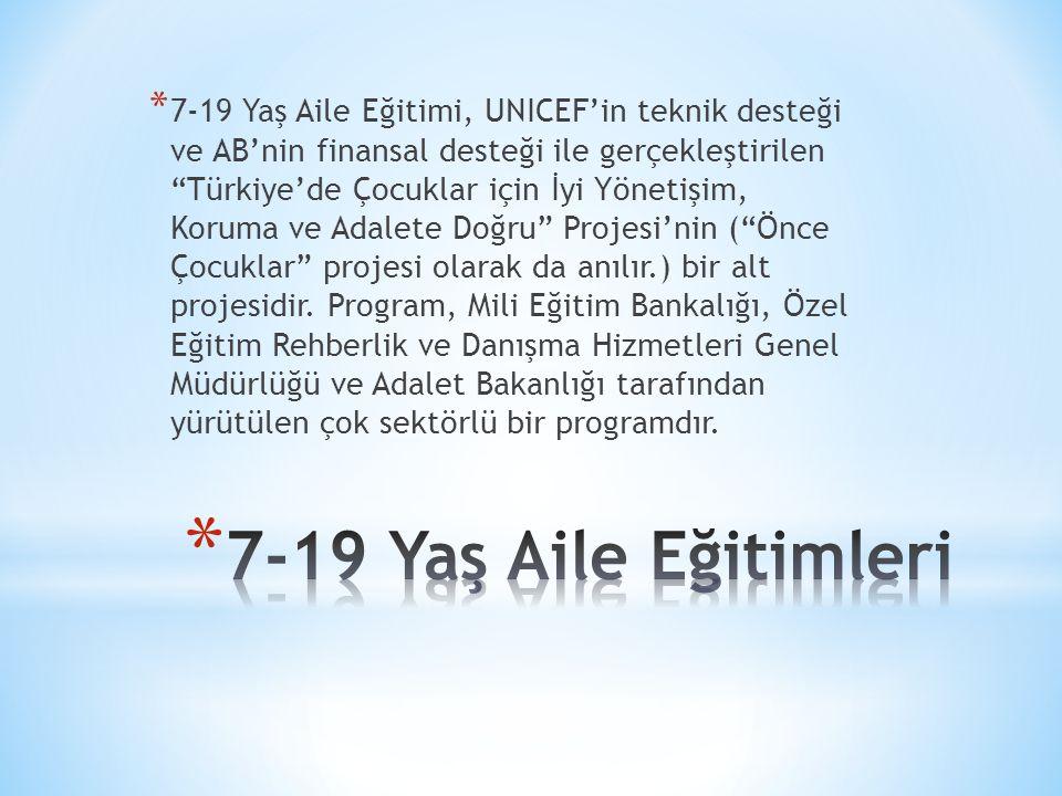 * 7-19 Yaş Aile Eğitimi, UNICEF'in teknik desteği ve AB'nin finansal desteği ile gerçekleştirilen Türkiye'de Çocuklar için İyi Yönetişim, Koruma ve Adalete Doğru Projesi'nin ( Önce Çocuklar projesi olarak da anılır.) bir alt projesidir.