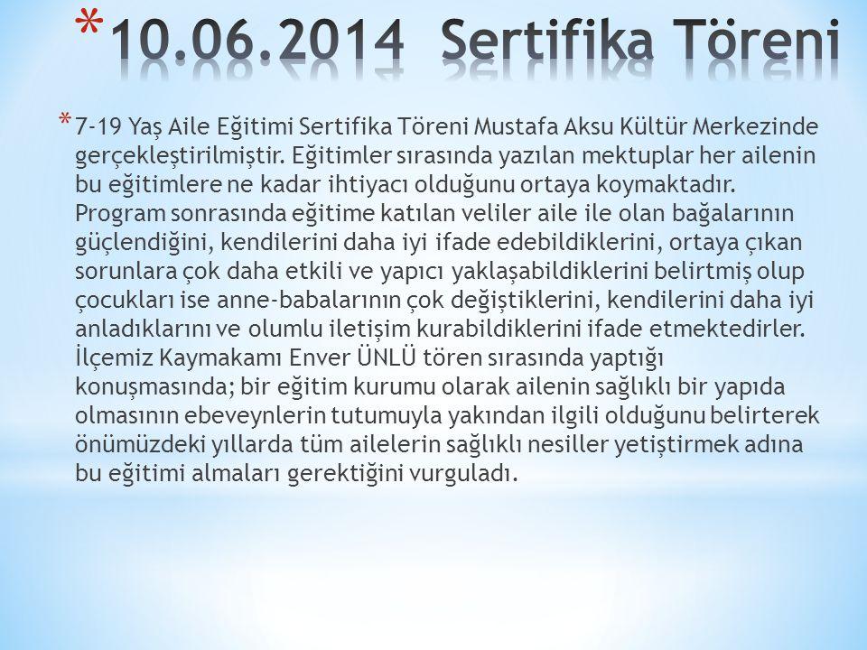 * 7-19 Yaş Aile Eğitimi Sertifika Töreni Mustafa Aksu Kültür Merkezinde gerçekleştirilmiştir.