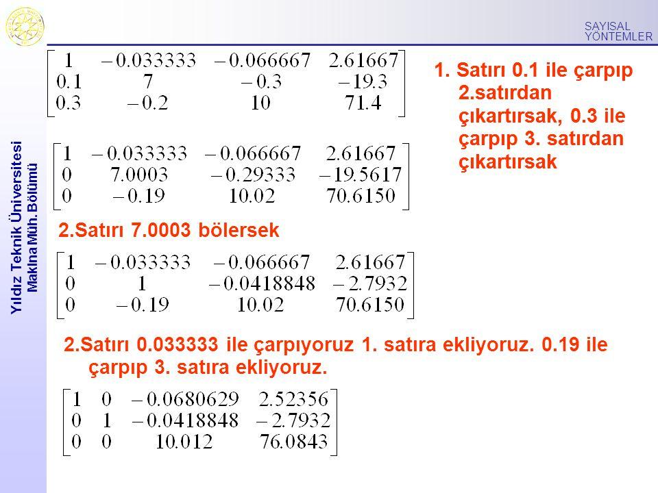 Yıldız Teknik Üniversitesi Makina Müh.Bölümü SAYISAL YÖNTEMLER 1.