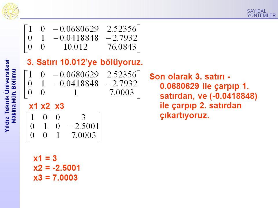 Yıldız Teknik Üniversitesi Makina Müh.Bölümü SAYISAL YÖNTEMLER 3.