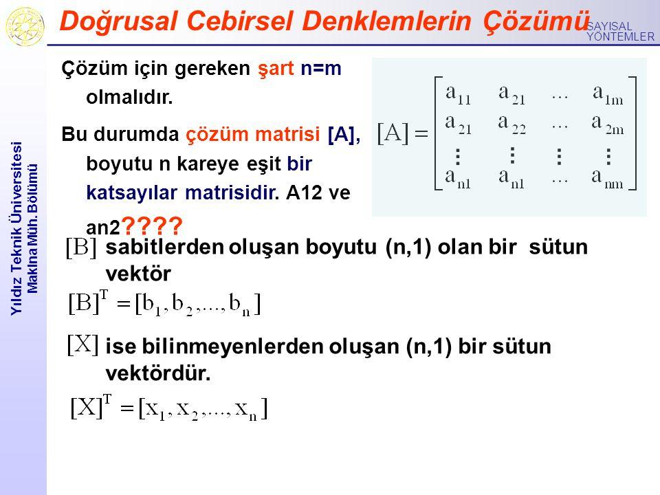 Yıldız Teknik Üniversitesi Makina Müh.Bölümü SAYISAL YÖNTEMLER 2.