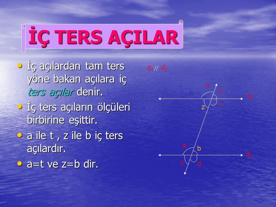 Aynı yöne doğru bakan açılara yöndeş açılar denir. Aynı yöne doğru bakan açılara yöndeş açılar denir. Yöndeş açıların ölçüleri eşittir. Yöndeş açıları