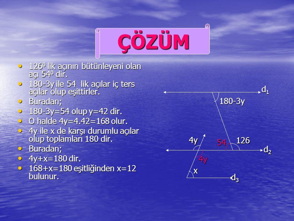 Yandaki şekilde d 1 d 2 d 3 tür. Yandaki şekilde d 1 d 2 d 3 tür. Verilenlere göre x=? Verilenlere göre x=? ÖRNEK d1d1d1d1 d2d2d2d2 d3d3d3d3 x 4y 126
