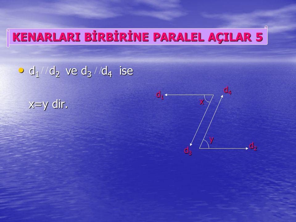 d 1 d 2 ve d 3 d 4 ise d 1 d 2 ve d 3 d 4 ise x+y= 180° dir. x+y= 180° dir. d1d1d1d1 d2d2d2d2 d3d3d3d3 d4d4d4d4 x y KENARLARI BİRBİRİNE PARALEL AÇILAR