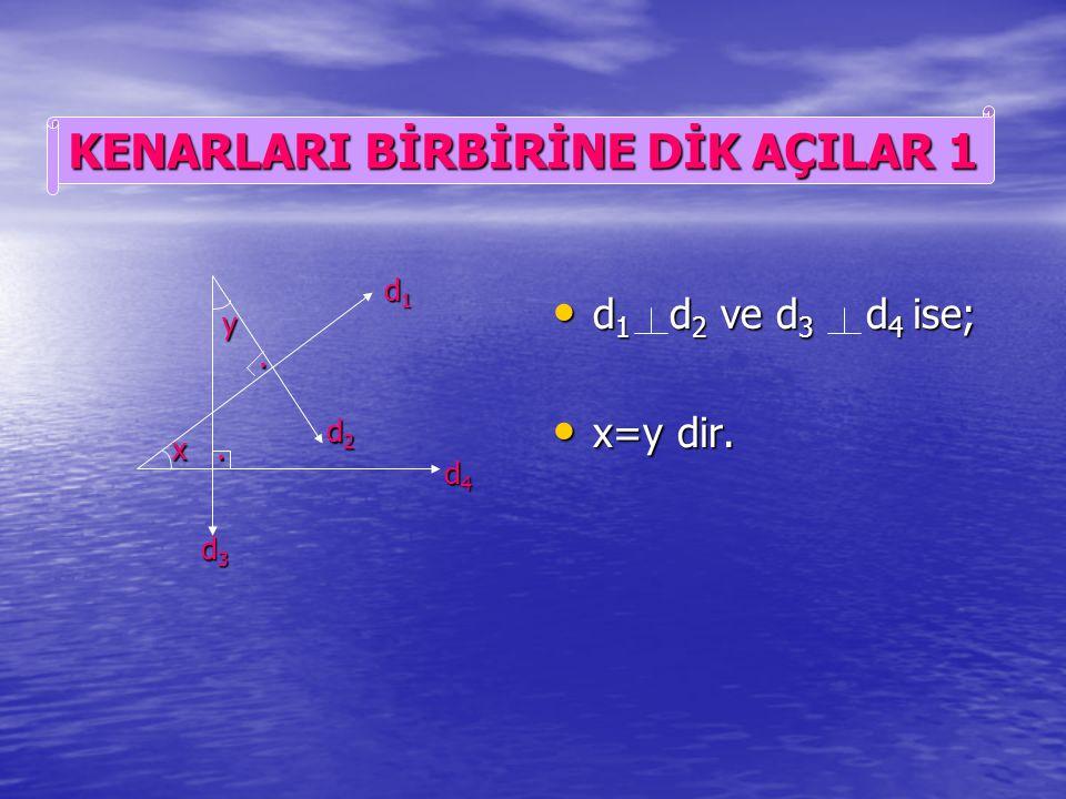 d 1 d 2 ve d 3 d 4 ise d 1 d 2 ve d 3 d 4 ise x=y dir. x=y dir. d1d1d1d1 d2d2d2d2 d3d3d3d3 d4d4d4d4 x y KENARLARI BİRBİRİNE PARALEL AÇILAR 5