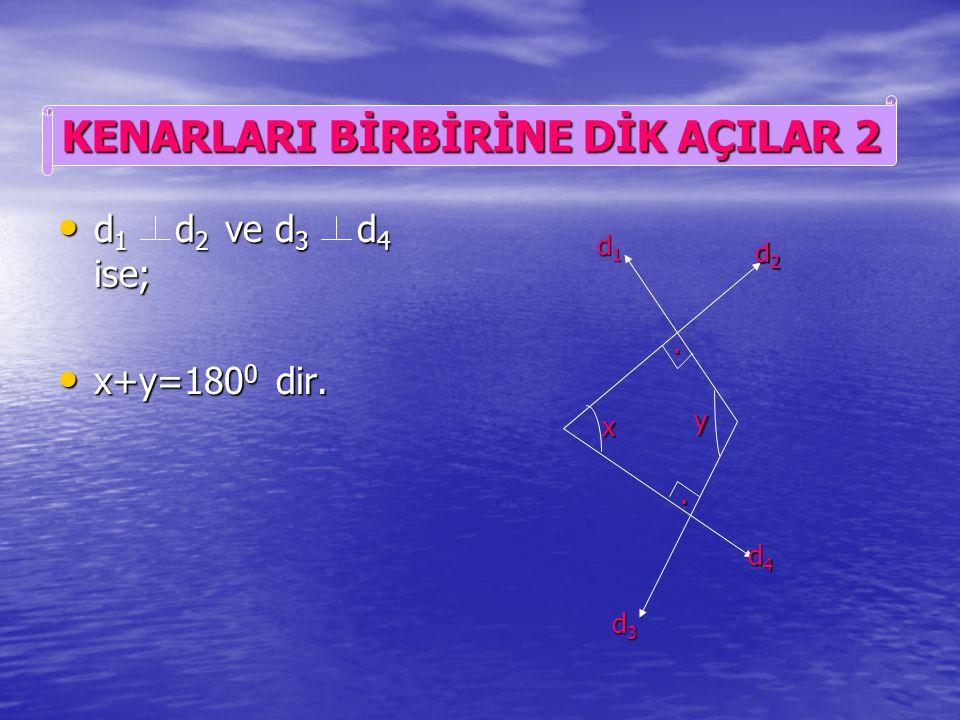d 1 d 2 ve d 3 d 4 ise; d 1 d 2 ve d 3 d 4 ise; x=y dir. x=y dir... x y d1d1d1d1 d2d2d2d2 d3d3d3d3 d4d4d4d4 KENARLARI BİRBİRİNE DİK AÇILAR 1