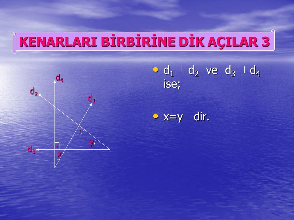d 1 d 2 ve d 3 d 4 ise; d 1 d 2 ve d 3 d 4 ise; x+y=180 0 dir. x+y=180 0 dir. y x.. d1d1d1d1 d2d2d2d2 d3d3d3d3 d4d4d4d4 KENARLARI BİRBİRİNE DİK AÇILAR
