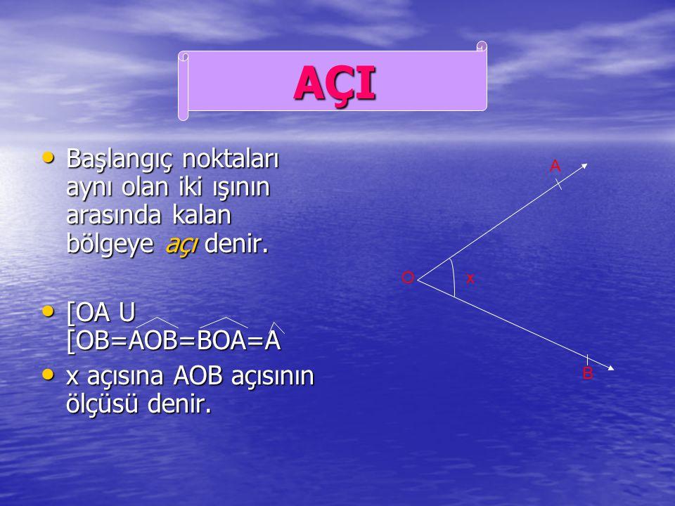 Başlangıç noktaları aynı olan iki ışının arasında kalan bölgeye açı denir.