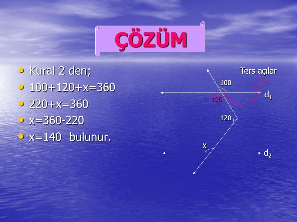 d 1 d 2 ise x=? d 1 d 2 ise x=? ÖRNEK d1d1d1d1 d2d2d2d2 100 120 X