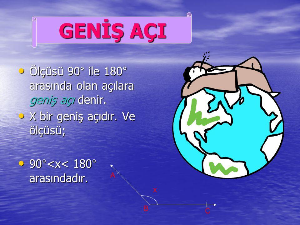 Ölçüsü 90° olan açıya Ölçüsü 90° olan açıya dik açı denir. dik açı denir. X bir dik açıdır. Ve ölçüsü; X bir dik açıdır. Ve ölçüsü; x= 90° x= 90°. x A