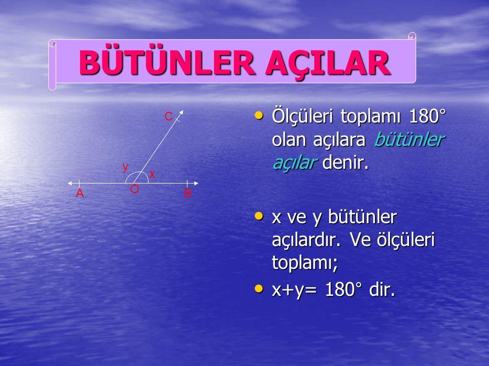 Ölçüleri toplamı 180° olan açılara bütünler açılar denir.