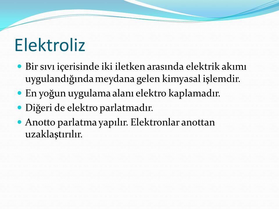 Elektroliz Bir sıvı içerisinde iki iletken arasında elektrik akımı uygulandığında meydana gelen kimyasal işlemdir. En yoğun uygulama alanı elektro kap