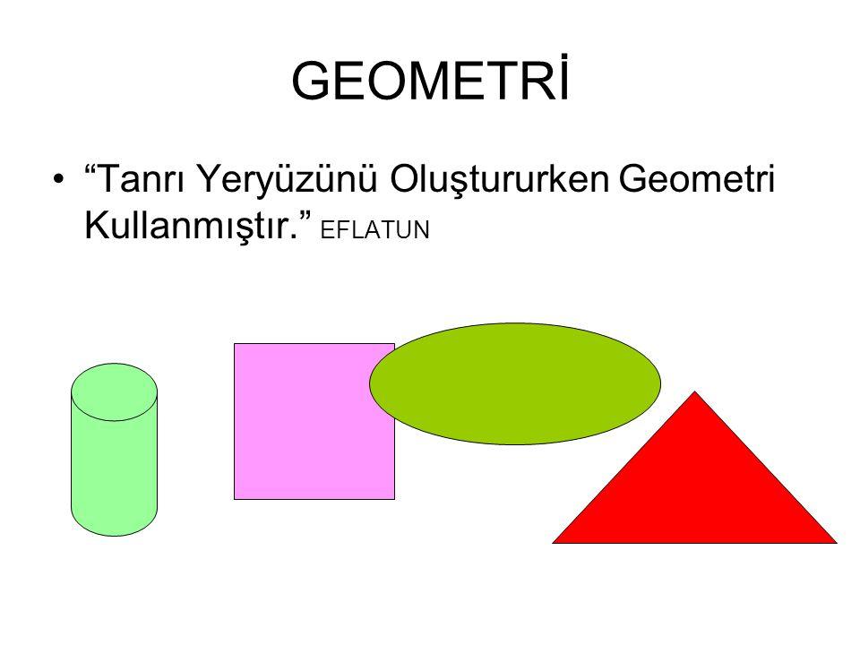 """GEOMETRİ """"Tanrı Yeryüzünü Oluştururken Geometri Kullanmıştır."""" EFLATUN"""