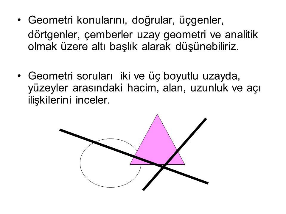 Geometri konularını, doğrular, üçgenler, dörtgenler, çemberler uzay geometri ve analitik olmak üzere altı başlık alarak düşünebiliriz. Geometri sorula